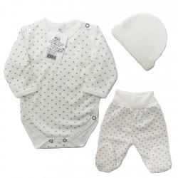 Ecru WYPRAWKA dla noworodka do szpitala w serca 3-częściowa z BIO bawełny