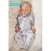 Pajac pajacyk bawełniany szaro-biały w myszki wzór 209s2