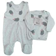Szara WYPRAWKA dla noworodka w jeże koszulka + śpiochy 2cz. wzór 190S
