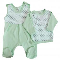 Miętowa WYPRAWKA dla noworodka w gwiazdki koszulka + śpiochy 2cz. wzór 214M