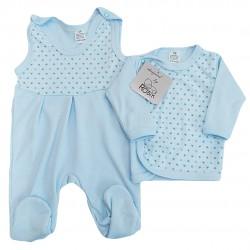 Niebieska WYPRAWKA dla noworodka w gwiazdki koszulka + śpiochy 2cz. wzór 213N