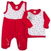 Czerwona WYPRAWKA dla noworodka w kotwice koszulka + śpiochy 2cz. wzór 211C
