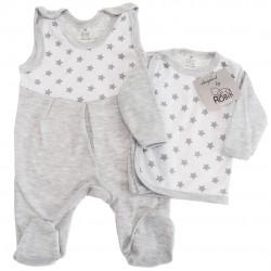 Szara WYPRAWKA dla noworodka w gwiazdki koszulka + śpiochy 2cz. wzór 157S