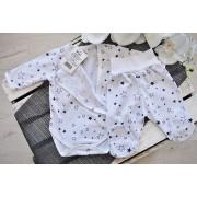 Komplet 2cz body kopertowe półśpiochy biały w gwiazdki piżamka