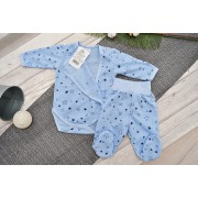 Komplet 2cz body kopertowe półśpiochy niebieski w gwiazdki piżamka