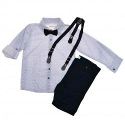 KOMPLET DLA CHŁOPCA koszula w niebieskie słońca, spodnie, muszka, szelki WIZYTOWY
