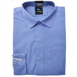 Niebieska gładka koszula chłopięca długi rękaw elegancka do szkoły