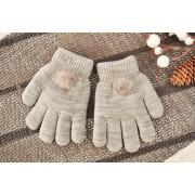 Szare rękawiczki zimowe dziewczęce z pomponem 5P