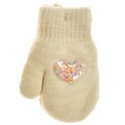 Kremowe rękawiczki zimowe dziewczęce 1P SerceK