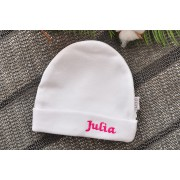 Biała CZAPECZKA dla noworodka SMERFETKA z imieniem Julia