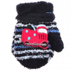 Zimowe rękawiczki frotte z maskotką LokomotywaG