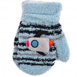 Zimowe rękawiczki frotte z maskotką RakietaJN