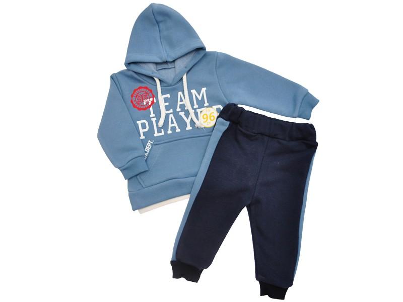 Dres TEAM PLAYER niebieska bluza z kapturem, granatowe spodnie, komplet