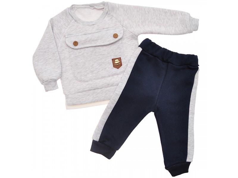 DRES RONIX szara bluza z kieszonką, granatowe spodnie, komplet