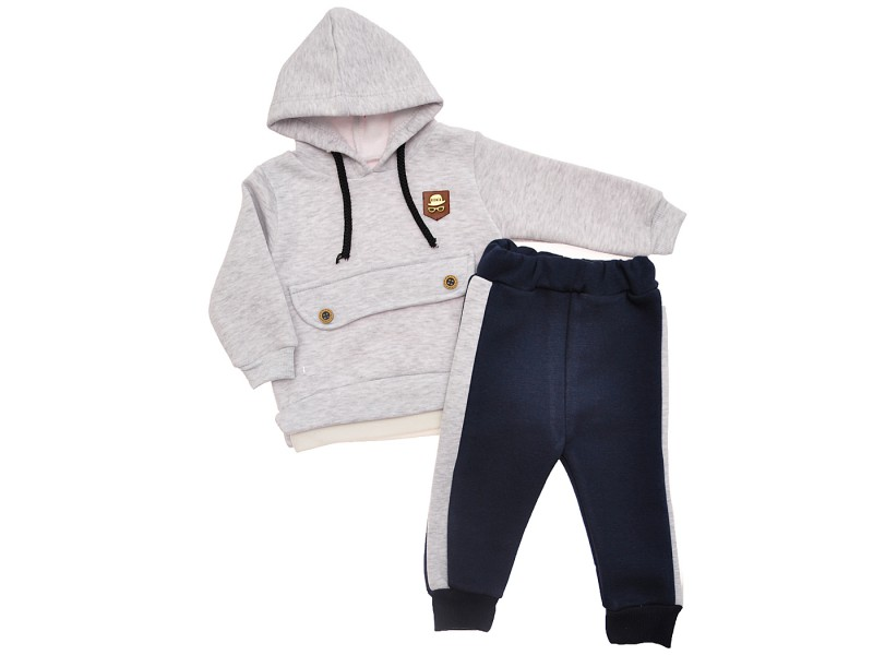 DRES RONIX szara bluza z kapturem, granatowe spodnie, komplet