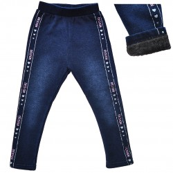 Granatowe LEGGINSY a'la jeans GETRY na futerku DESIGN brokat