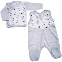 Szara WYPRAWKA dla noworodka w pieski koszulka + śpiochy 2cz. r.56-62 wzór 167S