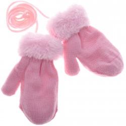 Zimowe rękawiczki na futerku róż 10cm 56 62 68 74
