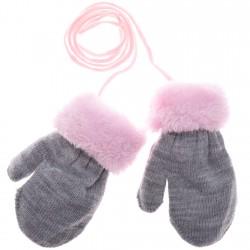 Zimowe rękawiczki na futerku szary R 10cm 56 62 68