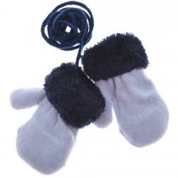 Zimowe rękawiczki na futerku blue 10cm