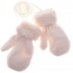 Zimowe rękawiczki na futerku ecru 12cm 56 62 68 74