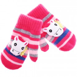 Zimowe rękawiczki z maskotką różowe z żyrafką
