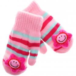 Zimowe rękawiczki z maskotką różowe gwiazdka