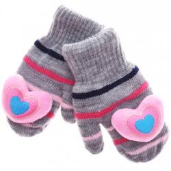 Zimowe rękawiczki z maskotką szare serduszko