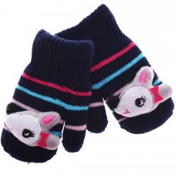 Zimowe rękawiczki z maskotką granatowe sarenka