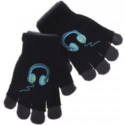 Zimowe rękawiczki podwójne SłuchawkiC 18cm 128 134