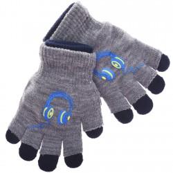 Zimowe rękawiczki podwójne SłuchawkiSZ18cm 128 134