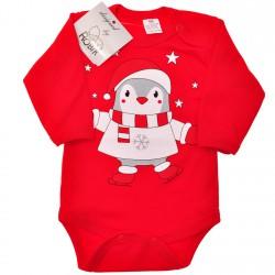 Dziecięce Body na Święta - czerwone z pingwinkiem