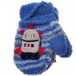 Zimowe rękawiczki frotte z maskotką RobotN