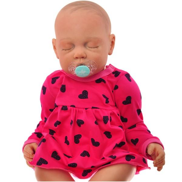 Amarantowa BODY SUKIENKA niemowlęca w serca wzór 309A