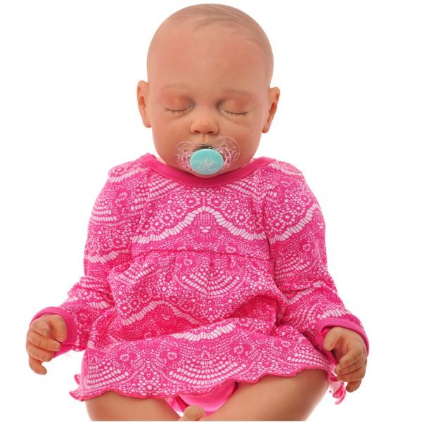 Amarantowa BODY SUKIENKA niemowlęca wzór koronka1