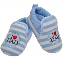 Buciki I love DAD 0-12M  buty NIECHODKI niebieskie