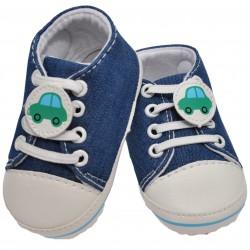 Buty trampki jeans 0-12M NIECHODKI niebieskie