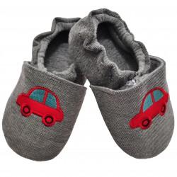 Antypoślizgowe kapcie niemowlęce szare z autkiem