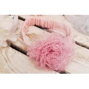 OPASKA LENKA z tiulowym kwiatem r. 38-42 różowa opaska z brokatem 0-6msc