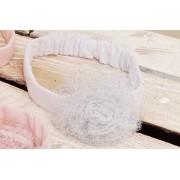 OPASKA LENKA z tiulowym kwiatem biała opaska z brokatem 0-6msc 56 62 68 CHRZEST