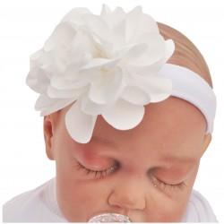 OPASKA OLEŃKA r.38-42 biała opaska z dużym kwiatem 0-6m 56 62 68 CHRZEST
