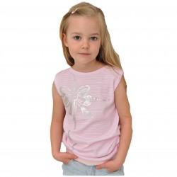 Bluzka błyszcząca kokarda OVERSIZE kr. rękaw biało-różowe paski