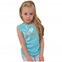 Bluzka błyszcząca kokarda r.92-140 OVERSIZE kr. rękaw kolor lazurowy