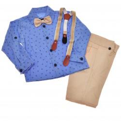 KOMPLET DLA CHŁOPCA r.86-104 niebieska koszula, spodnie, muszka, szelki WIZYTOWY