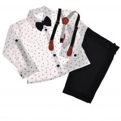 KOMPLET DLA CHŁOPCA r.86-104 biała koszula, spodnie, muszka, szelki WIZYTOWY