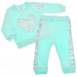 Komplet dziewczęcy spodnie, bluza DRES miętowy r.9-24msc cekinowe serce