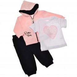 Komplet dziewczęcy spodnie bluza bluzeczka, DRES różowy r.9-24msc serce
