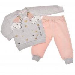Komplet dziewczęcy spodnie szara bluza z nadrukiem DRES r.6-18msc jednorożce
