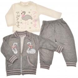 Komplet dziewczęcy spodnie bluza bluzeczka, DRES szary r.3-12msc flamingi