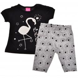 Komplet dziewczęcy legginsy bluzeczka krotki rękaw LATO r.6-18msc czarny z flamingiem